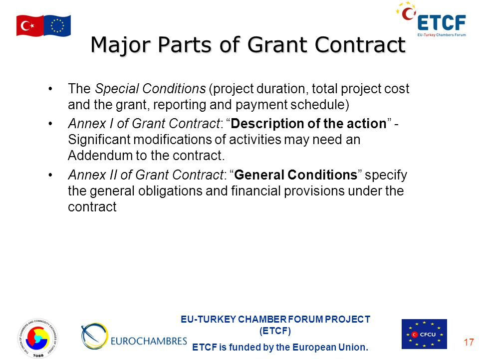 Major Parts of Grant Contract