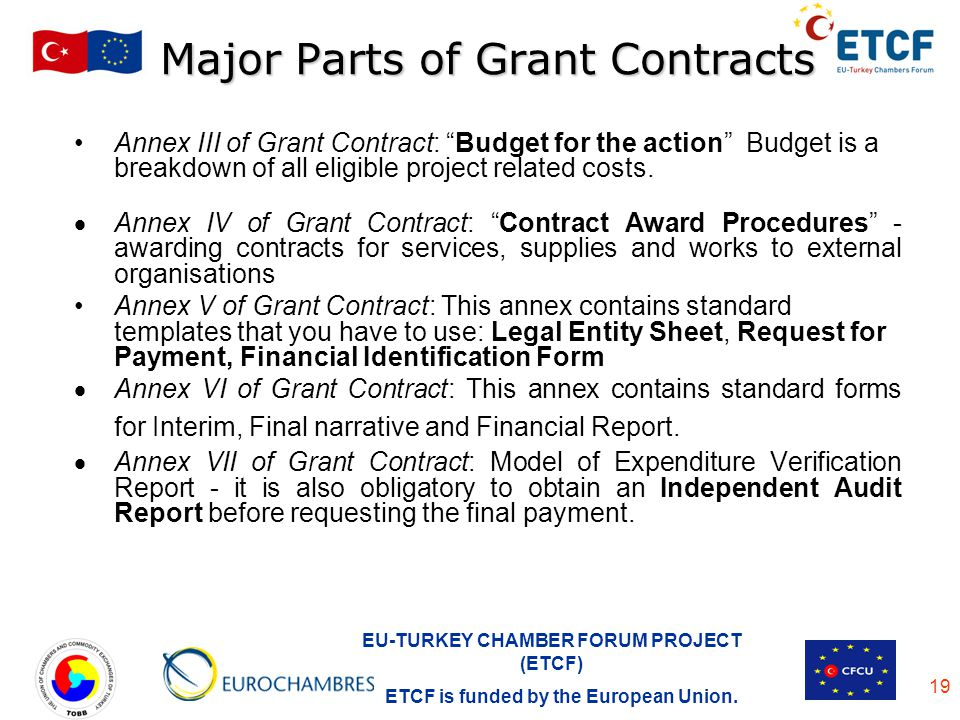 Major Parts of Grant Contracts