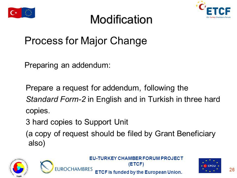 Modification Process for Major Change Preparing an addendum: