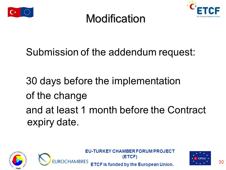 Modification Submission of the addendum request: