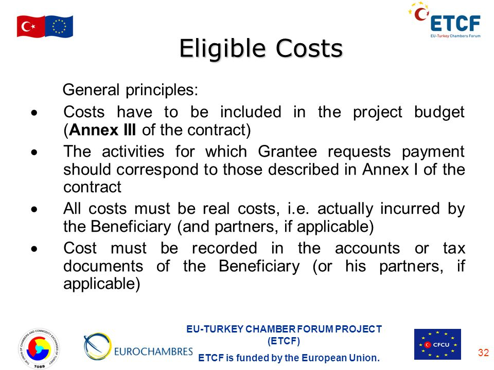 Eligible Costs General principles: