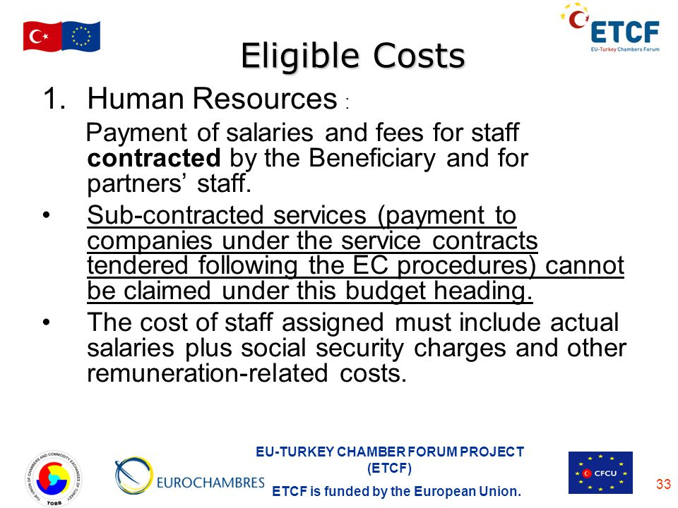 Eligible Costs Human Resources :
