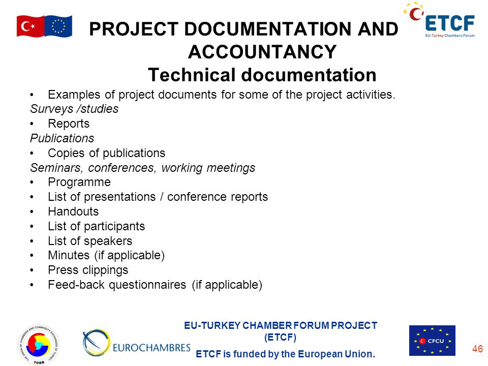 PROJECT DOCUMENTATION AND ACCOUNTANCY Technical documentation