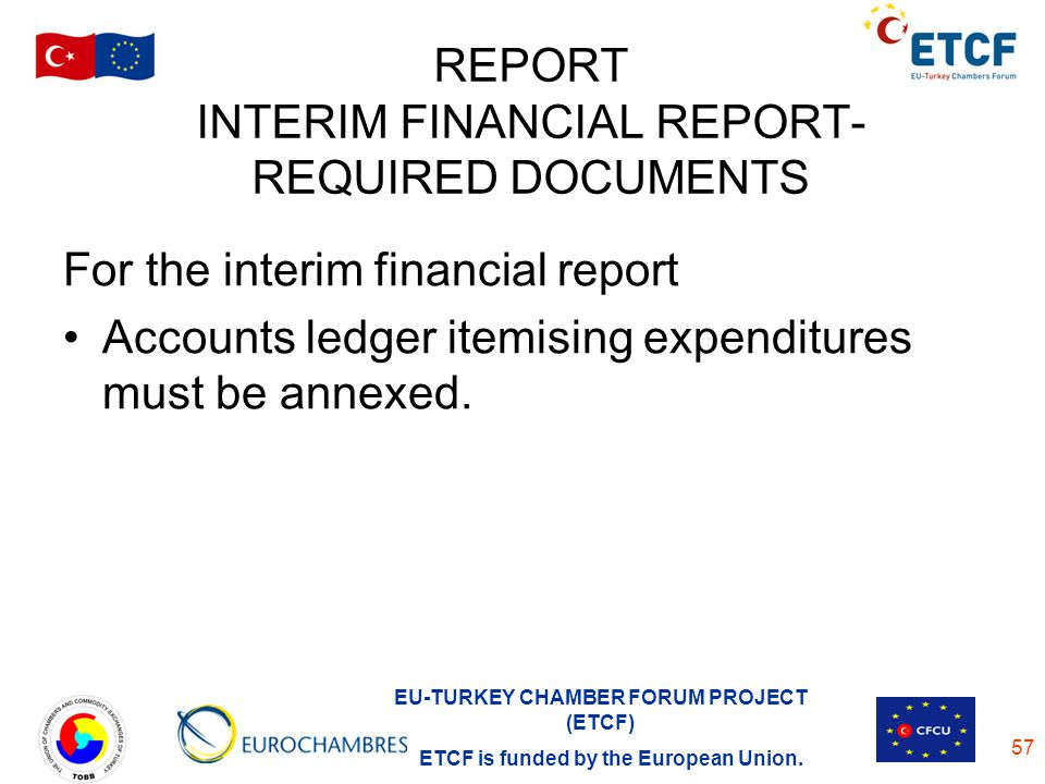 REPORT INTERIM FINANCIAL REPORT-REQUIRED DOCUMENTS