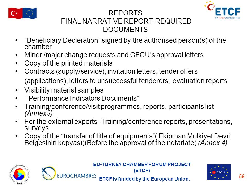 REPORTS FINAL NARRATIVE REPORT-REQUIRED DOCUMENTS
