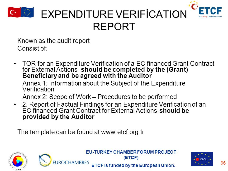 EXPENDITURE VERIFİCATION REPORT