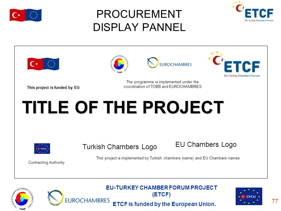 PROCUREMENT DISPLAY PANNEL