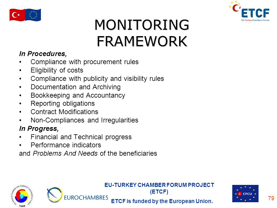 MONITORING FRAMEWORK In Procedures, Compliance with procurement rules