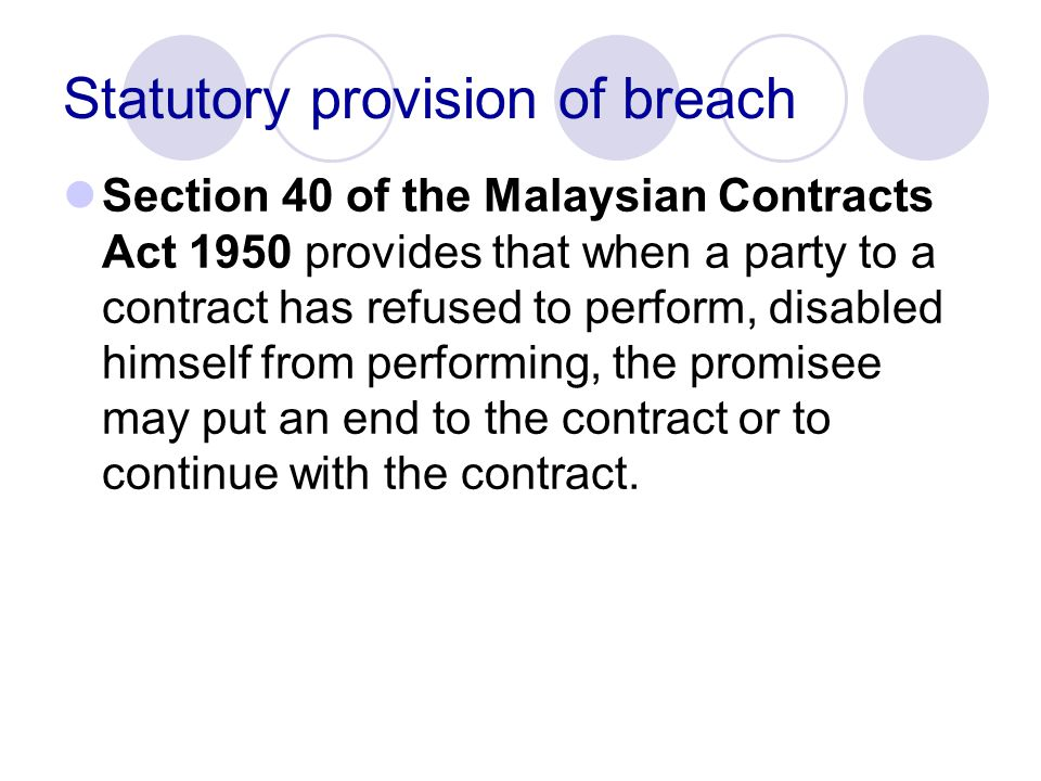 Statutory provision of breach