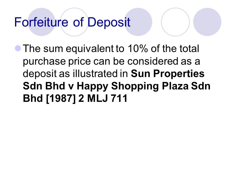 Forfeiture of Deposit