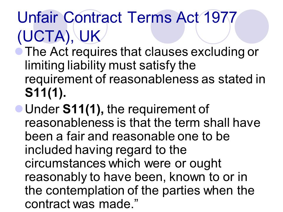 Unfair Contract Terms Act 1977 (UCTA), UK
