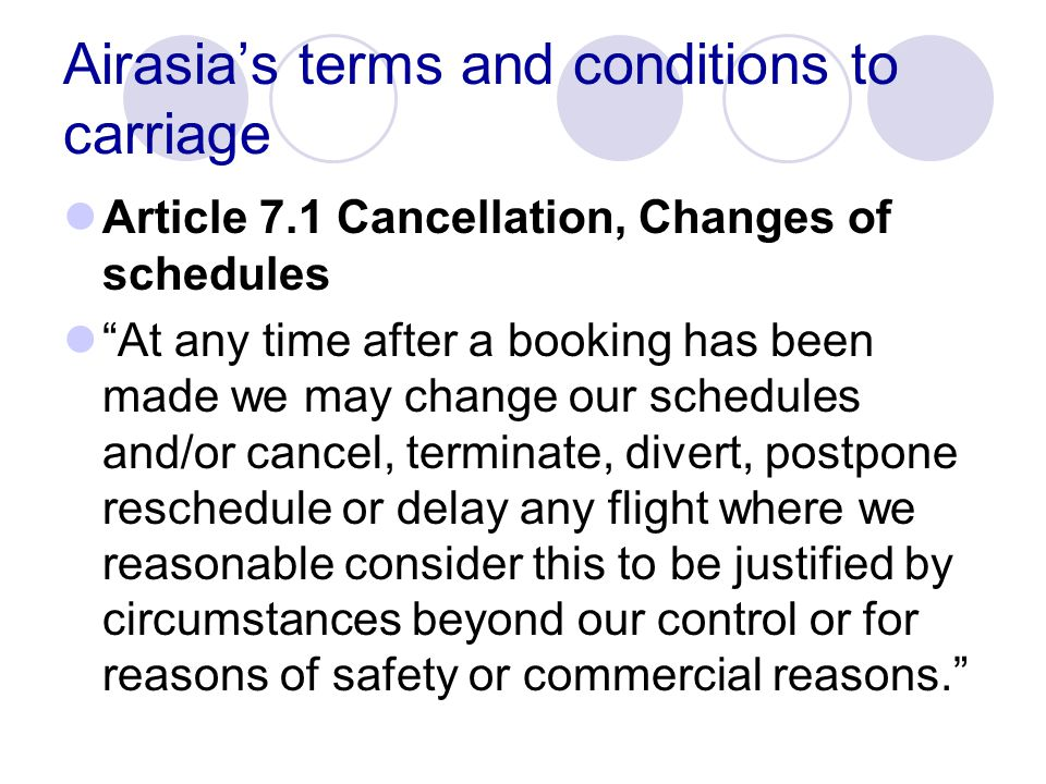 Airasia's terms and conditions to carriage
