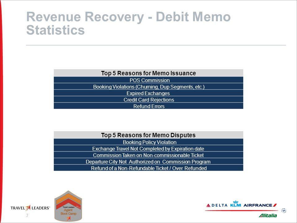 Revenue Recovery - Debit Memo Statistics Cont'd…..