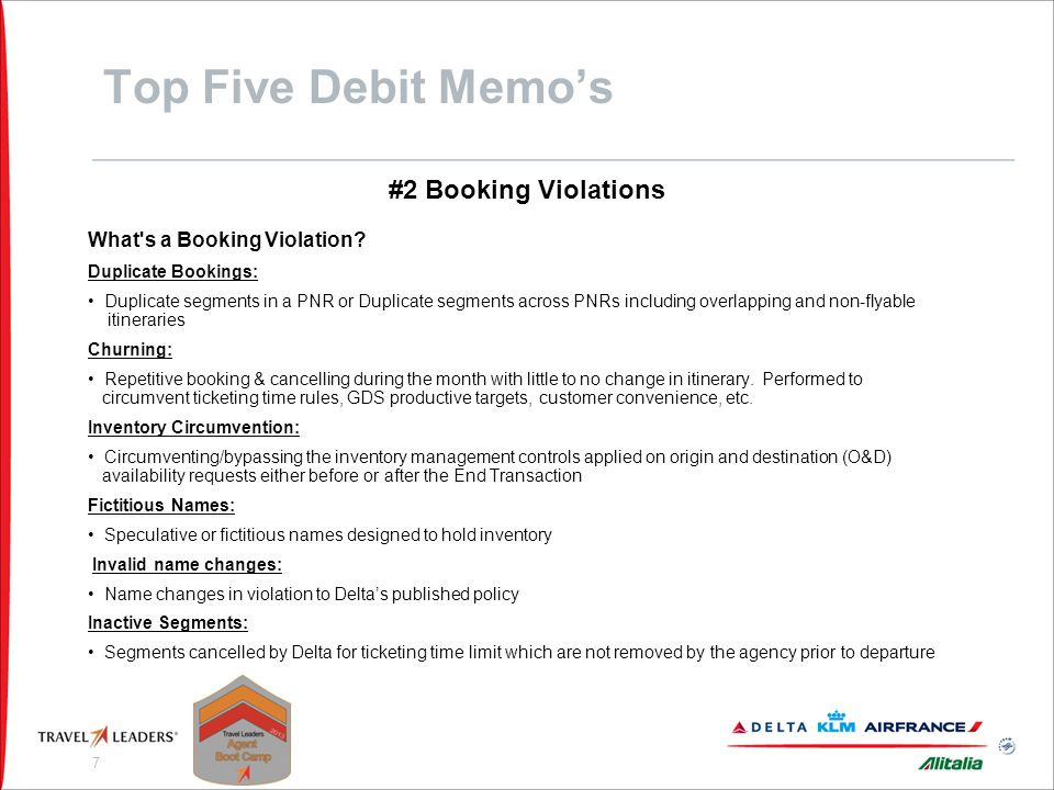 Top Five Debit Memo's #2 Booking Violations
