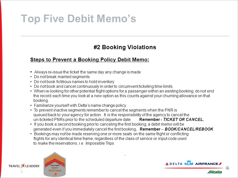 Top Five Debit Memo's #3 Expired Exchanges Reasons for these Debit Memo's: