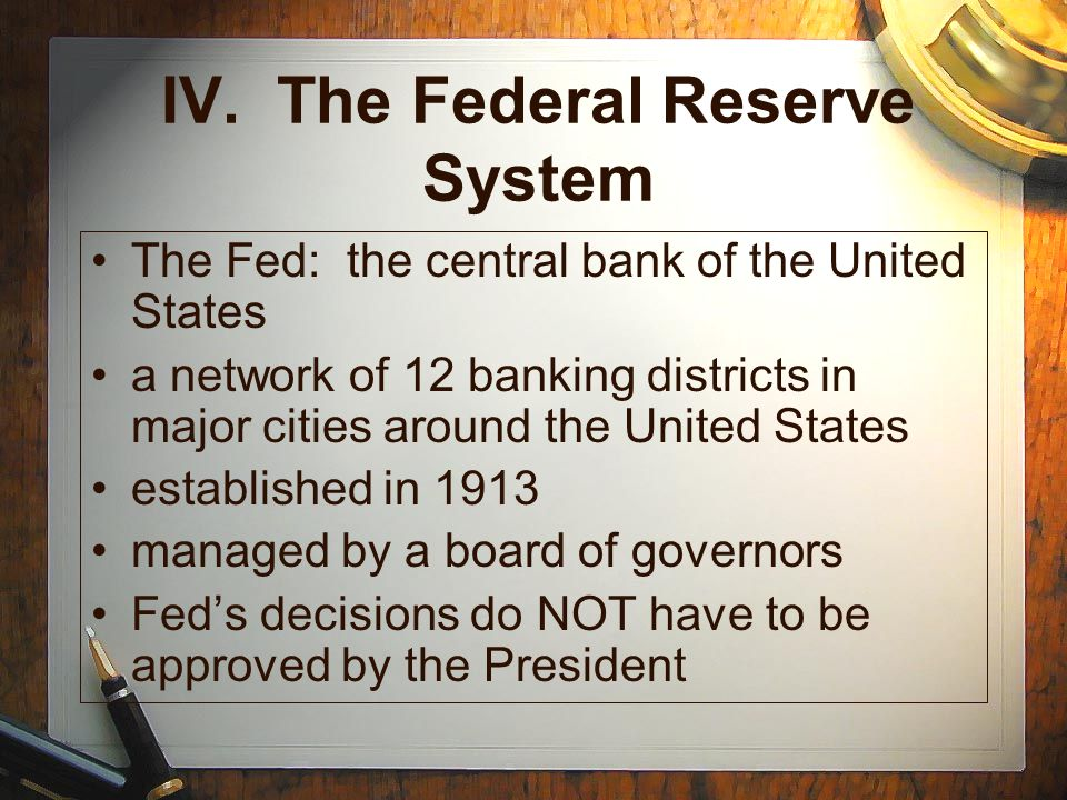 IV. The Federal Reserve System