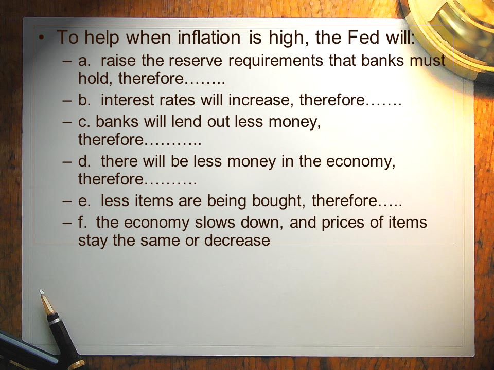 To help when inflation is high, the Fed will: