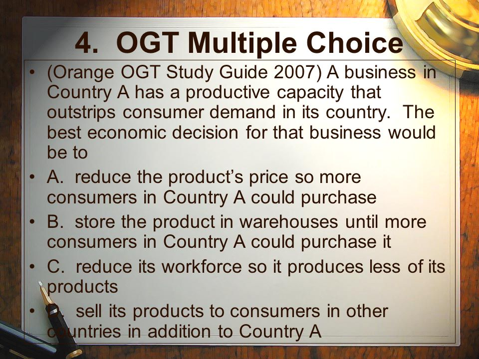 4. OGT Multiple Choice
