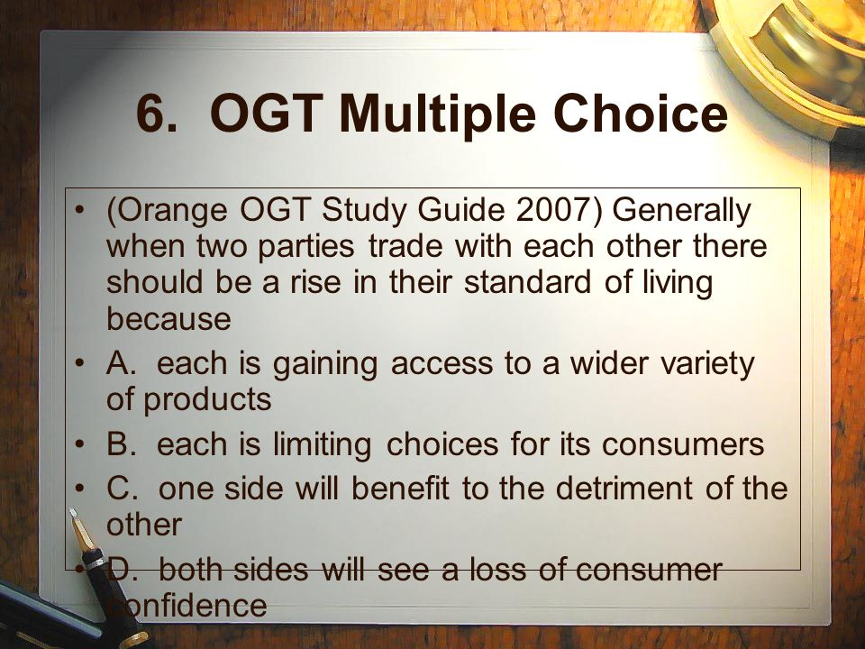 6. OGT Multiple Choice