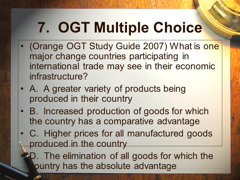 7. OGT Multiple Choice