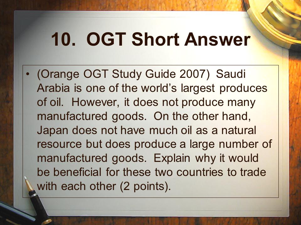 10. OGT Short Answer