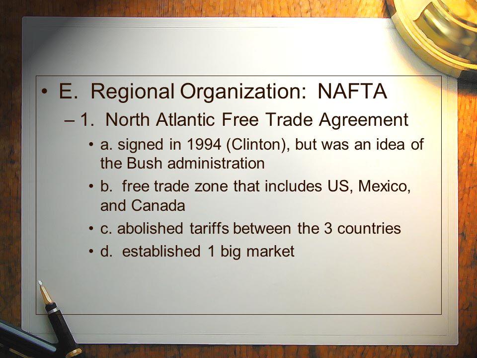 E. Regional Organization: NAFTA