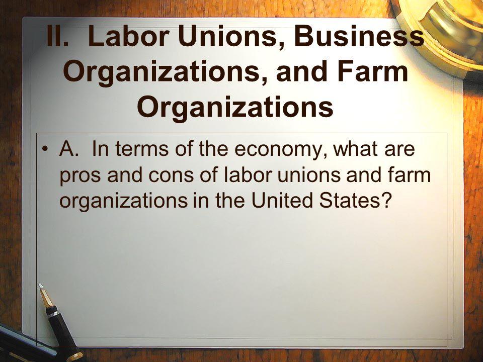 II. Labor Unions, Business Organizations, and Farm Organizations
