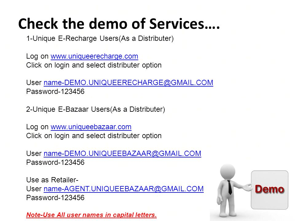 Check the demo of Services….