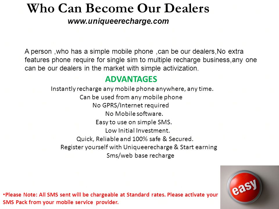Who Can Become Our Dealers www.uniqueerecharge.com