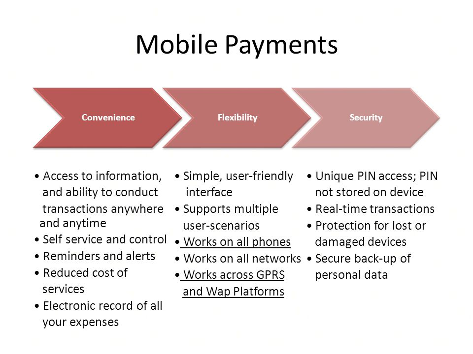 Mobile Payments Access to information, and ability to conduct