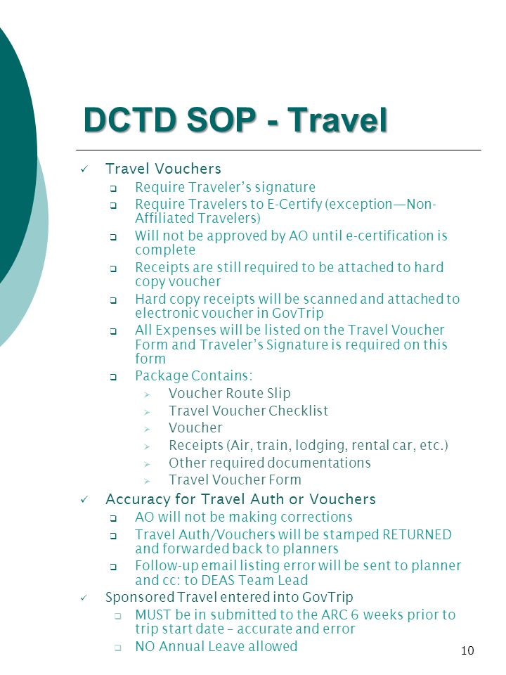 DCTD SOP - Travel Travel Vouchers Accuracy for Travel Auth or Vouchers