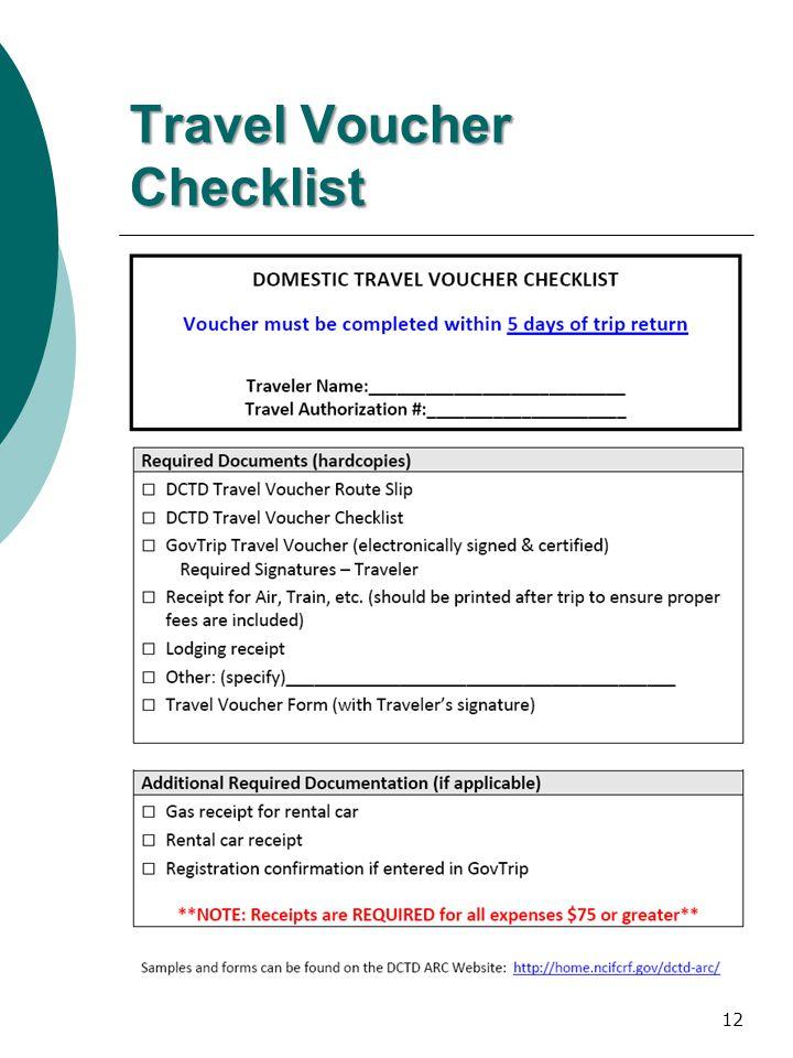 Travel Voucher Checklist