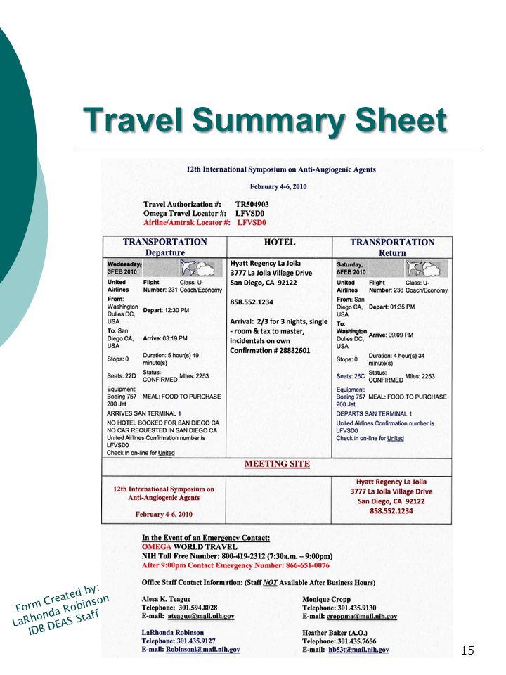 Travel Summary Sheet Form Created by: LaRhonda Robinson IDB DEAS Staff