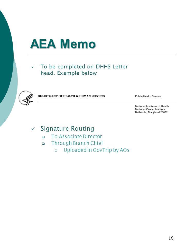 AEA Memo Signature Routing