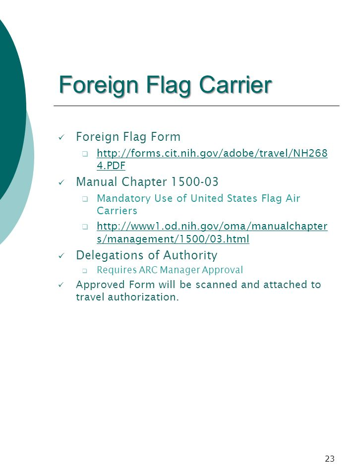 Foreign Flag Carrier Foreign Flag Form Manual Chapter 1500-03