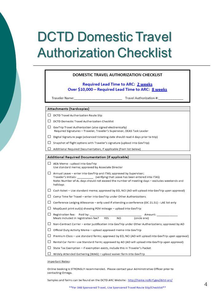 DCTD Domestic Travel Authorization Checklist