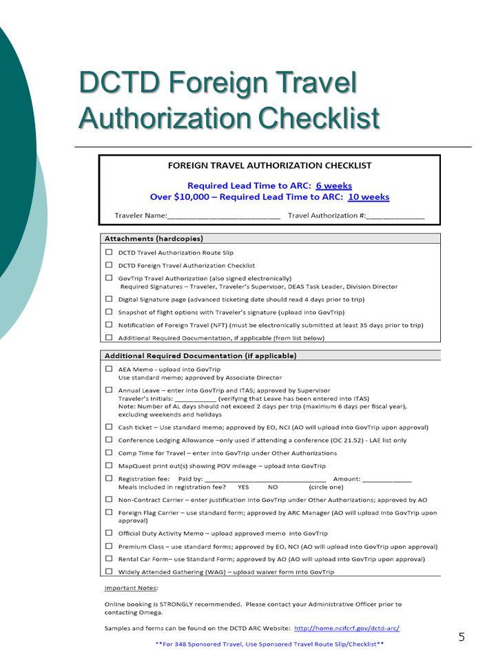 DCTD Foreign Travel Authorization Checklist