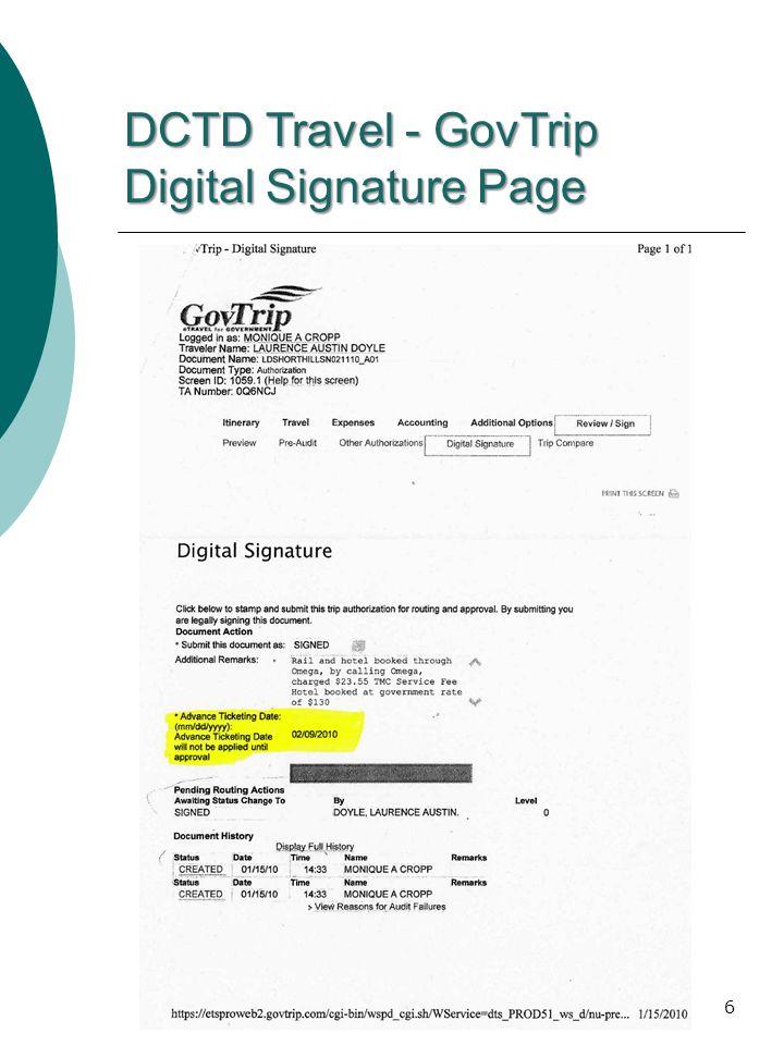 DCTD Travel - GovTrip Digital Signature Page