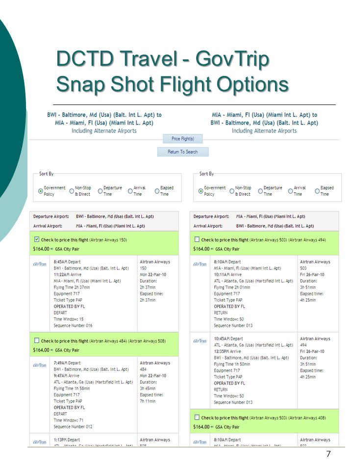 DCTD Travel - GovTrip Snap Shot Flight Options