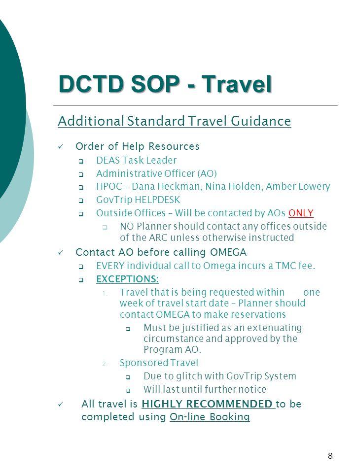 DCTD SOP - Travel Additional Standard Travel Guidance