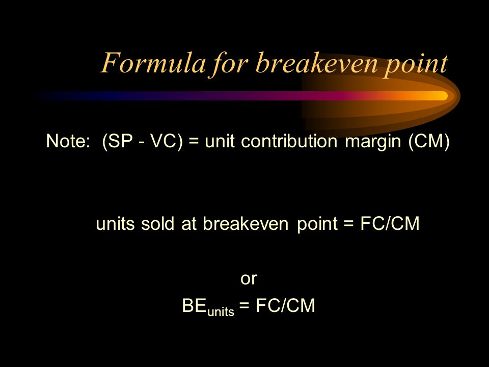Formula for breakeven point