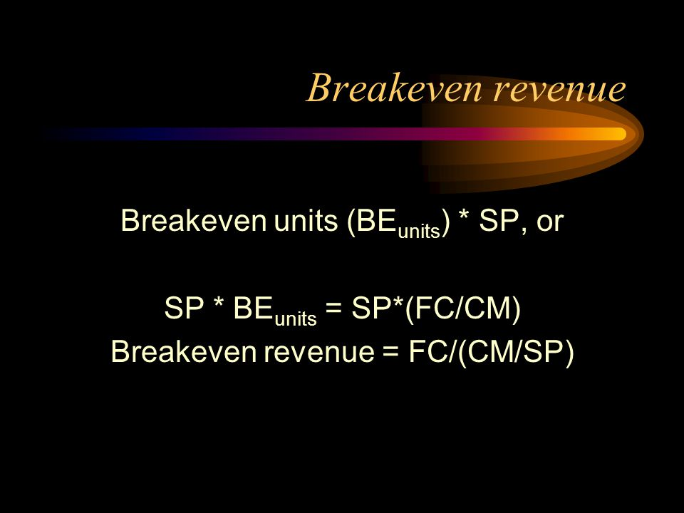 Breakeven revenue Breakeven units (BEunits) * SP, or