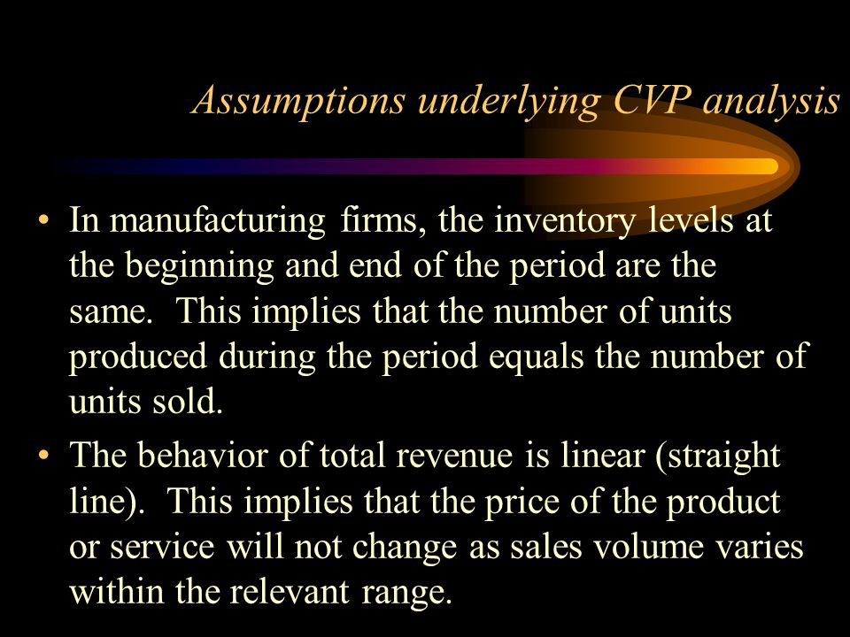 Assumptions underlying CVP analysis