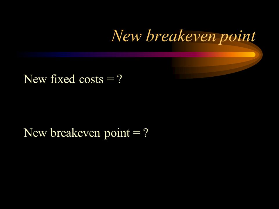 New breakeven point New fixed costs = New breakeven point =