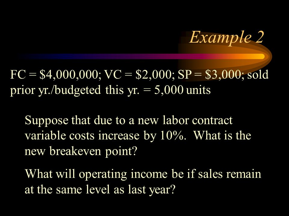 Example 2 FC = $4,000,000; VC = $2,000; SP = $3,000; sold