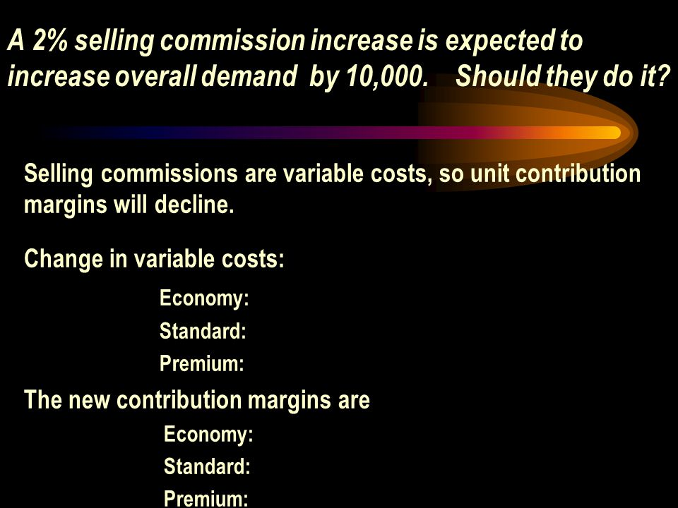 A 2% selling commission increase is expected to increase overall demand by 10,000. Should they do it