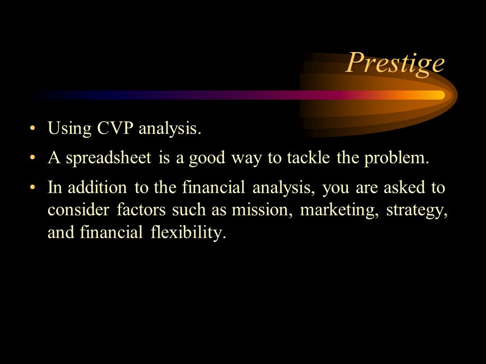 Prestige Using CVP analysis.