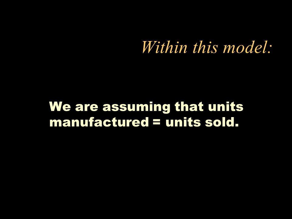 We are assuming that units manufactured = units sold.