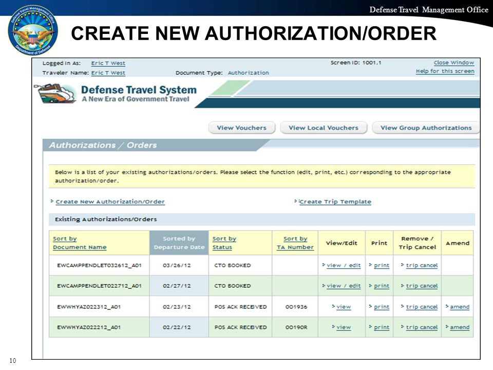 CREATE NEW AUTHORIZATION/ORDER