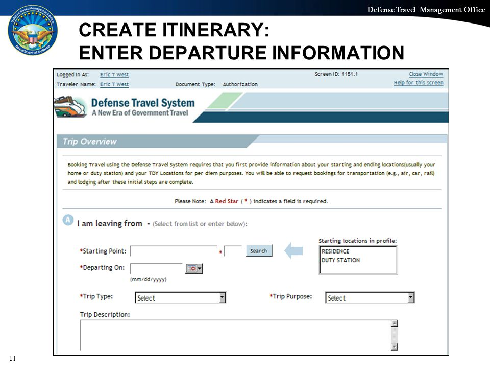 CREATE ITINERARY: ENTER DEPARTURE INFORMATION